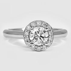 18K White Gold Halo Diamond Ring // Set with a 0.52 Carat, Round, Super Ideal Cut, J Color, VS2 Clarity Diamond #BrilliantEarth