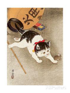 46 x 61 - R$ 174,00 - Cat Catching Mouse Impressão giclée por Koson Ohara na AllPosters.com.br