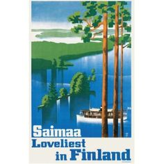 Old poster/postcard picturing lake Saimaa, Finland