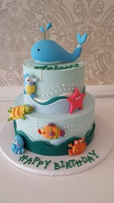 But with a shark on top as per Dylans wishes! Under The Sea Birthday Cake By Nunuk - (cakesdecor)