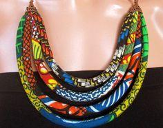 Joyería étnica collar de tela africana collar verde y por nad205