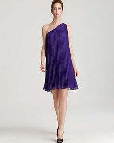 Halston Heritage Chiffon Pleated One Shoulder Dress.