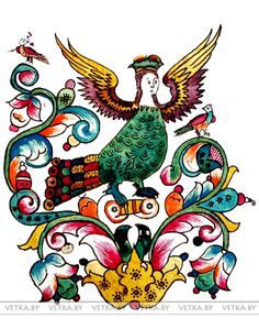 Изображение птицы Сирин в старообрядческой книге, хранящейся в Ветковском музее народного творчества