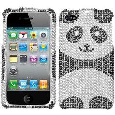 For Iphone 4 - Black Silver Panda Diamond Bling Rhinestone Hard Case Cover Iphone Cases Cute, Ipod Cases, Cute Cases, Iphone 4s, Apple Iphone, Best Cell Phone, Cell Phone Accessories, Cover, Iphone5s Cases