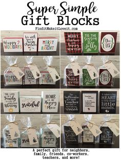 Simple Gift Blocks A quick and easy gift for friends, neighbors, and coworkers. A DIY christmas craft with Free Printables. Simple Gift Blocks - Find it, Make it, Love it 2x4 Crafts, Wood Block Crafts, Diy Crafts To Sell, Wood Blocks, Selling Crafts, Sell Diy, Glass Blocks, Vinyl Crafts, Preschool Crafts