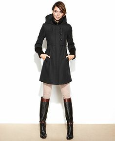 Jason Kole Coat, Double-Breasted Hooded Wool-Blend Pea Coat ...