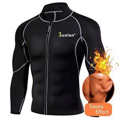 Men Sweat Neoprene Weight Loss Sauna Suit Workout Shirt Body Shaper Fitness Jacket Gym Top Clothes Shapewear Long Sle... Gym Jacket, Waist Trainer For Men, Before And After Weightloss, Workout Accessories, Fitness Accessories, Gym Tops, Sauna, Gym Workouts, Gym
