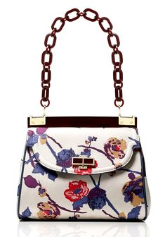 Tory Burch Printed Faille Medium Top Resin Bag