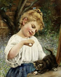 "Leo Malempré (British/French, 1860-1901) - ""Girl Playing with a Kitten"""
