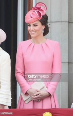 Catherine Duchess of Cambridge looks out from the balcony of Buckingham Palace during the Trooping the Colour parade on June 17 2017 in London England
