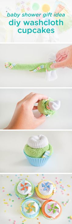 This DIY baby shower gift idea looks impressive, but is so easy to make! Made with newborn washcloths and socks, these baby washcloth cupcakes—complete with the full, step-by-step tutorial—is a simple way to truly wow the mother-to-be with a homemade gift idea that is adorable and useful!                                                                                                                                                                                 More
