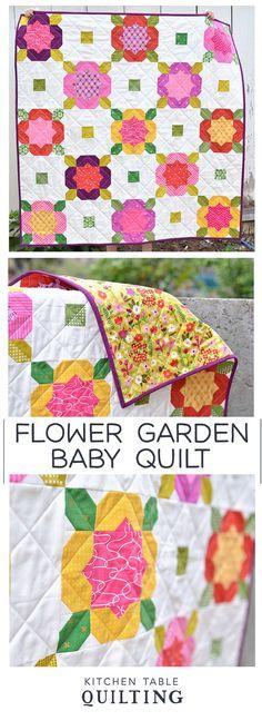 Mini Flower Garden Baby Quilt - Kitchen Table Quilting