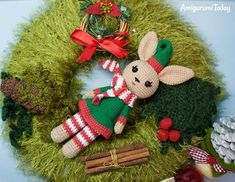 Free Christmas Bunny crochet pattern by Amigurumi Today