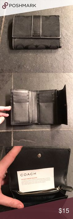 Black authentic Coach wallet - excellent condition This wallet is in great condition with minimal signs of wear.  It is black inside and out. There is a spot for ID, coins, cash and multiple cards. It comes from a smoke/dog free home. Coach Bags Wallets