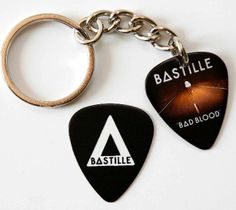 bastille key chain | Details about Bastille Two Sided Guitar Pick Keyring + Matching ...