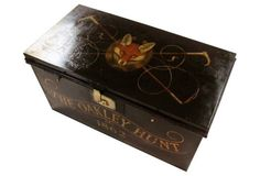 "English military trunk, c.1880. Newly painted by an English artist with the fox hunt motif | one kings lane | metal | 33""w x 17""d x 17.5""h 