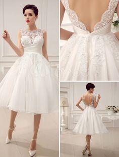 Vestido de noiva curto marfim com renda e decote V - Milanoo.com