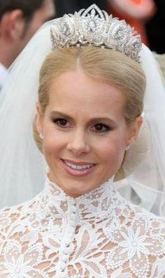 Princess Nadja Skoesz wearing the Schaumburg-Lippe tiara for her marriage to Alexander, Prince of Schaumburg-Lippe in Royal Crown Jewels, Royal Crowns, Royal Tiaras, Royal Jewelry, Tiaras And Crowns, Royal Brides, Royal Weddings, Royal House, Royal Fashion