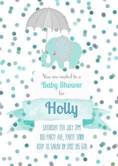 Custom Blue & Mint Baby Shower / Birthday by Leeandmeinvitations