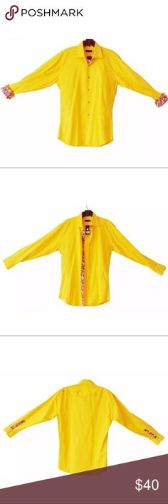 """JARED LANG Golden Yellow Contrasting Cuffs Placket Jared Lang New with tags, 100% cotton shirt by Jared Lang. Gorgeous golden yellow with colorful placket and cuffs. Long sleeves can convert to button up sleeves.Size Medium. Approximate measurements taken flat across: Shoulder to Shoulder: 20"""" Underarm to Underarm: 21.5"""" Sleeve Length: 24.5"""" Length: 32.5"""" (Measured on back side, from top of collar to bottom of hem) No Trades Jared Lang Shirts Casual Button Down Shirts"""