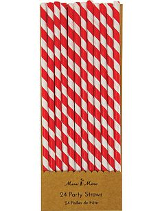 MERI MERI Pack of 24 Red striped straws