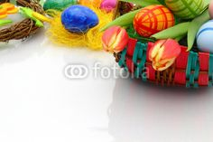 easter-egg basket with tulips - Osterkorb mit Tulpen