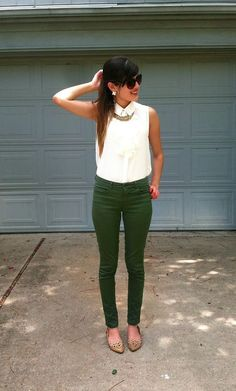 White blouse, Green trousers, Snakeskin shoes - Work Outfit