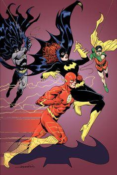 The Flash and Batgirl with Batman and Robin by Aaron Lopresti Dc Comics Superheroes, Dc Comics Characters, Dc Comics Art, Batman Comics, Book Characters, Flash Tv, The Flash, Comic Book Covers, Comic Books Art