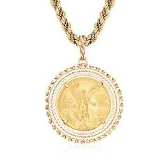 "Ross-Simons - C. 1980 Vintage Mexican 22kt Yellow Gold ""Centenario"" Coin Pendant Necklace in 18kt Yellow Gold. 28"" - #860710"