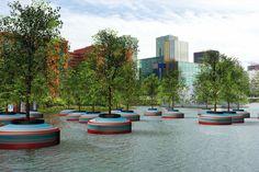 Arboles en la bahía de Rotterdam 20 bomen dobberen op hergebruikte Noordzeeboeien in de Rotterdamse Rijnhaven