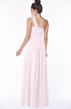 Blush Simple A-line One Shoulder Half Backless Chiffon Flower Bridesmaid Dresses