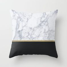 Throw Pillow made from 100% spun polyester poplin fabric. Sold with or without faux down pillow insert. marble, black, texture, textile, pattern, gold, black, architecture, gold leaf, stripes, white, golden, stripes, lines, minimal, minimalism, minimalist, pattern, straight, luxury, glamour, duvet, bed, art print, gold leaf, tapestry, pillow, interior design, home decor, decoration, decorate, home style, pillow, bed, bedroom, duvet , tapestry
