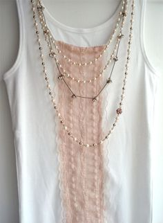 DIY lace Tank Top    Embellish and spruce up your plain tanks with lace! Simple DIY idea (tutorial also included)