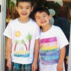 Tutorial for turning sandpaper art into beautiful t shirts. Perfect kid craft for Father's Day!