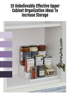 Low on kitchen cabinets storage space? Have trouble finding what you need? Here are 15 organization ideas that'll keep your cabinet clutter free and looking organized. If you love to cook, then you'll surely find these tips useful.Start organizing your upper and lower cabinets now with these 15 organization ideas! #homewhis #cabinetorganization #homeorganization #pantryorganization #spiceorganization #declutter Cabinet Spice Rack, Spice Rack Organiser, Sink Organizer, Small Cabinet, Kitchen Cabinet Organization, Storage Cabinets, Small Kitchen Organization, Fridge Organization, Organization Ideas