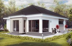 Bungalowstil Walmdach Flat Roof House, Facade House, Duplex House Plans, Dream House Plans, Cute Small Houses, Three Bedroom House Plan, Simple House Design, Bungalow House Design, Architectural Design House Plans