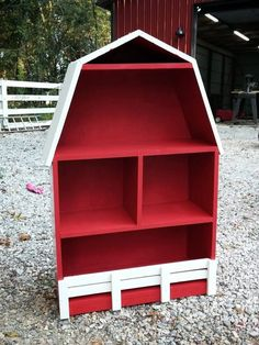 DIY Barn Bookshelf -Check out the blog for my experience and where I got the plans!
