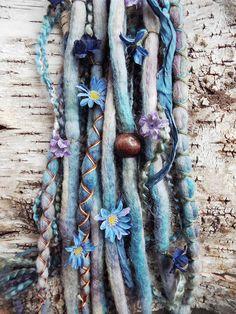 Custom Tie-Dye Floral Wool Dreadlock Extensions! 10pc Tie-Dye Wool Cool Tone Flower Dreads with X-Cross Wrap & Beads Bohemian Hippie Dreadlocks Falls Synthetic Boho Extensions - Purple Finch