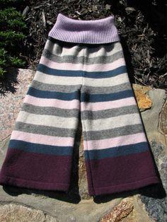 RePurposed Wool Longies / Pants  Stripy Longies by EverGreenBazaar, $20.00