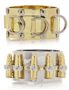 Eddie Borgo  cuffs. Maybe I need a bullet bracelet!