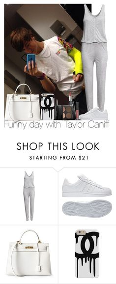 """""""Funny day with Taylor Caniff"""" by irish26-1 ❤ liked on Polyvore featuring H&M, adidas, Hermès and MAKE UP FOR EVER"""