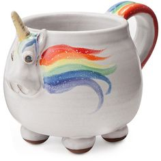 Elwood the Rainbow Unicorn Mug | Sip With Whimsy | UncommonGoods ($38) ❤ liked on Polyvore featuring home, kitchen & dining, drinkware, filler, food, mug, rainbow mug, elwood, unicorn mug and rainbow unicorn mug