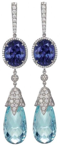 Aquamarine, diamond and sapphire earrings by Chopard.  Via CIJ Jewellery Magazine.