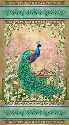 "PEACOCK JEWEL OF THE GARDEN  23"" x 44"" PANEL COTTON FABRIC  TIMELESS TREASURES #TimelessTreasuresFabric"