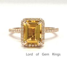 Emerald Cut Citrine Engagement Ring Pave Diamond Wedding 14K Rose Gold 6x8mm - Lord of Gem Rings - 1