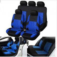 BLUE Front /& Back SPLIT Bench SEAT COVERS 9pc SET for CADILLAC CTS SRX