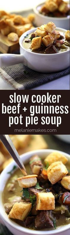 This Slow Cooker Beef and Guinness Pot Pie Soup with Thyme Puff Pastry Croutons has all the flavors of pot pie but requires less effort! Crock Pot Soup, Crock Pot Slow Cooker, Crock Pot Cooking, Slow Cooker Recipes, Crockpot Recipes, Soup Recipes, Cooking Recipes, Diabetic Recipes, Soup Dish