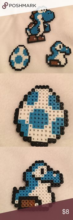 perler beads magnets 3 Yoshi perler beads magnets in blue I make them just for fun  Other