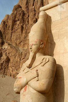 Pharaoh Hatshepsut Osiris statue, Mortuary temple, Deir el-Bahri, Thebes, Egypt