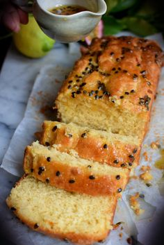 Lemon Passionfruit Loaf wtih Coconut cream